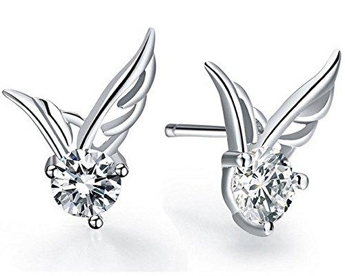 Amazon #LightningDeal 80% claimed: Women Fashion White Gold Plated Angel Wing Shaped Crystal Stud Earrings by Joyfulshine
