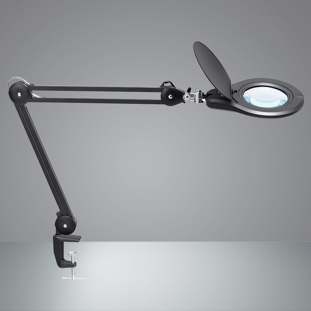 LED Magnifying Lamp, PHIVE Daylight Bright Magnifier Desk Lamp, Dimmable Task Lamp with Clamp, 5 Diopter, 5'' Diameter Lens, Highly Adjustable Swing Arm Craft, Workbench, Drafting, Work Light by PHIVE (Image #1)