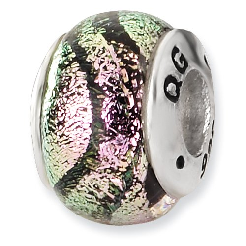 Sterling Silver Pink Dichroic Glass Bead ()