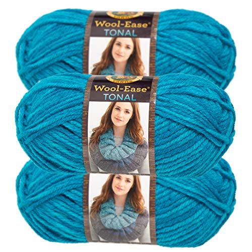 (Lion Brand Yarn (3 Pack) Acrylic & Wool Chunky Yarn for Knitting Crocheting Soft Yarn Bulky #5)