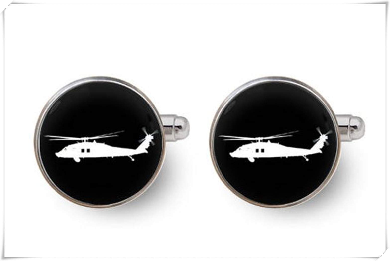 Black Hawk Helicopter Cufflinks,Dome Glass Jewelry, Pure Handmade, a Beautiful Gift