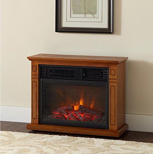 Della 1500W Deluxe Infrared Quartz Fireplace Heater Flame Wood Log Caster w/ Remote, Oak