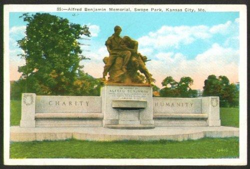 Kansas City Memorial - Alfred Benjamin Memorial Kansas City MO postcard 1934