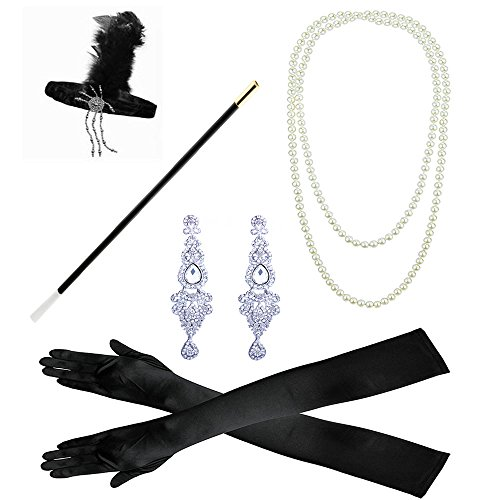 1920s accessories Cigarette Holder Earrings Headband Necklace Gloves Set (1920s)