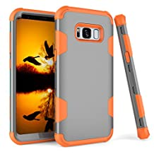 Galaxy S8 Case, MCUK [Shock Absorption] [Scratch Resistant] 3 in 1 Silicone Rubber Skin Hard Back Cover Heavy Duty High Impact Hybrid Case For Samsung Galaxy S8 5.8 inch(Grey Orange)