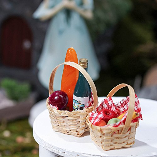 Set of 4 Miniature Tiny Wicker Picnic Baskets with Supplies for Embellishing Fairy Gardens, Crafts and Displays ()