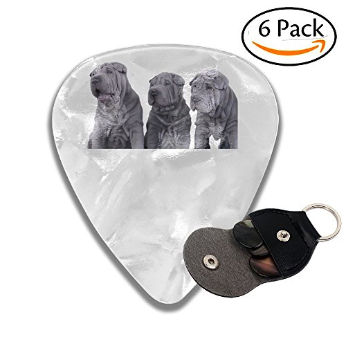 Colby Keats Guitar Picks Plectrums Three Shar Pei Dogs Classic Electric Celluloid Acoustic For Bass Mandolin Ukulele 6 Pack 3 Sizes .46mm