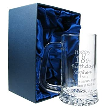 Mens 18th Birthday Gift Engraved Pint Glass Tankard In Satin Lined Presentation