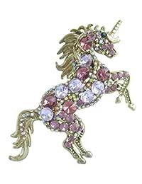 "Sindary Art Style Animal 3.35"" Purple Rhinestone Crystal Unicorn Horse Brooch Pin Pendant"