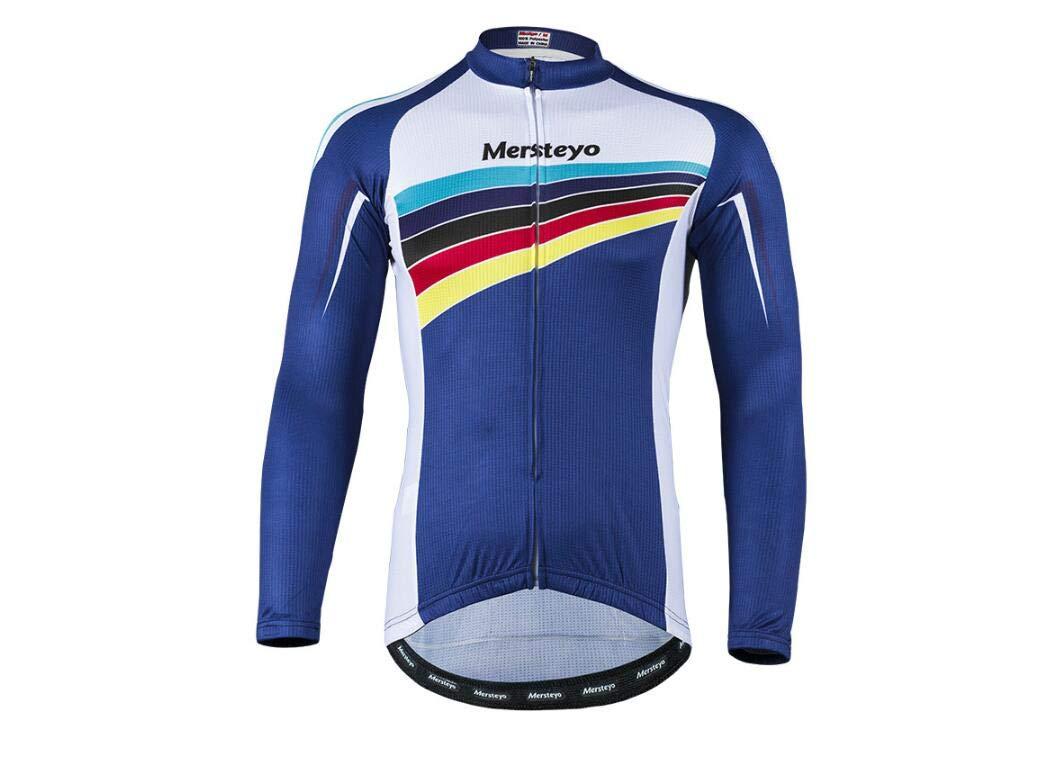 DUBAOBAO Mersteyo Herren Langarm-Radsport-Set Rennrad Outdoor Sportswear Langarm-Radsport-Set (Männer Männer) + 3D Gefüllte Hose (Blau)