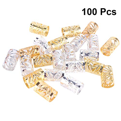 Frcolor 100pcs Dreadlocks Beads Metal Hair Cuffs Trenzado Beads Filigree Tube Accesorio para el pelo Decoración del pelo...