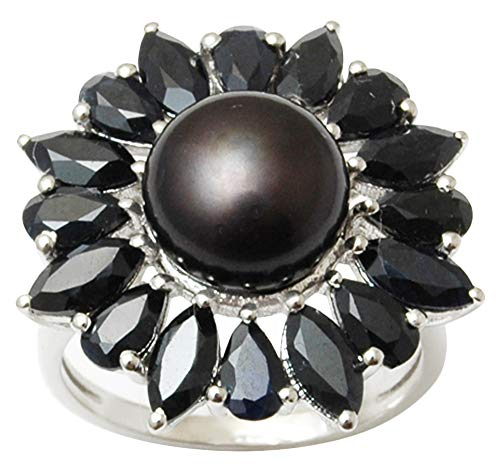 Faux Onyx Ring - Banithani 9.25 Pure Silver Exclusive Black Onyx And Faux Pearl Ring Fashion Women Jewelry-10.5