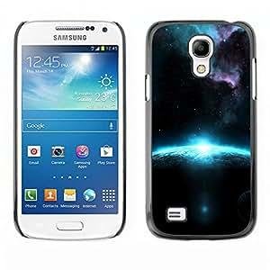 QCASE / Samsung Galaxy S4 Mini i9190 MINI VERSION! / azul planeta amanecer galaxia alienígena polvo de estrellas / Delgado Negro Plástico caso cubierta Shell Armor Funda Case Cover