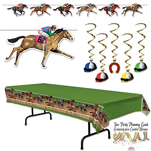 Curated Nirvana Kentucky Derby Party Bundle | Race Track Table Cover, Horse Banner, Jockey Hanging Swirls | Great for Horse Race Sports Themed Parties & Event Decor