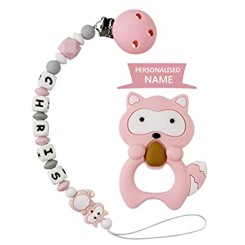 Grey with Teething Ring Dummy Clips Personalised Name Boys Teething Silicone Baby Pacifier Chain Soother Chain BPA Free Teething Relief Beads Binky Teether Holder Set Fox