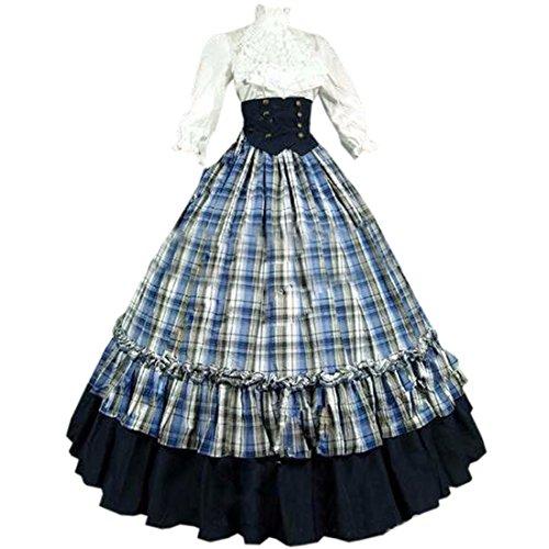 Partiss Women's Cotton Floor-Length Gothic Victorian Dress Costumes,L