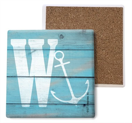 SJT ENTERPRISES, INC. Initial/Letter Lake and Beach Themed Coasters -W Absorbent Stone Coasters, 4-inch (4-Pack) (SJT96884) ()