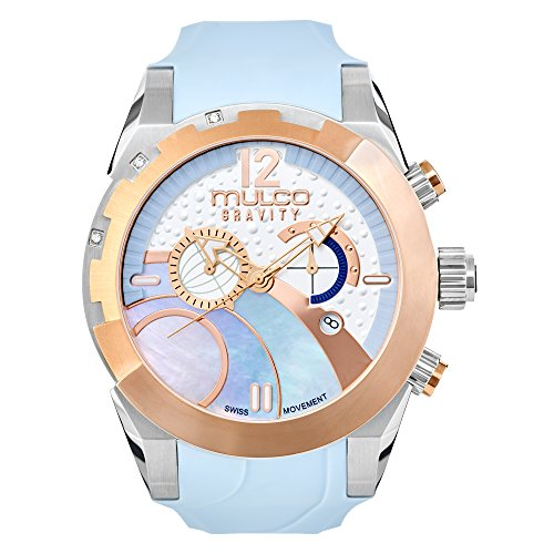 Chronograph Blue Mother Of Pearl - Mulco Gravity iOS Quartz Swiss Chronograph Movement Women's Watch | Mother of Pearl Sundial with Rose Gold and Mother of Pearl Accents | Silicone Watch Band | Water Resistant (Light Blue)