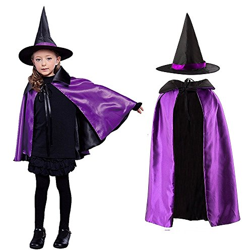 Halloween Coustumes For Kids (Halloween Costume, Children's Cloak with Witch Hat and Reversiable Wear for Halloween Cosplay Party (90cm-L, Purple))
