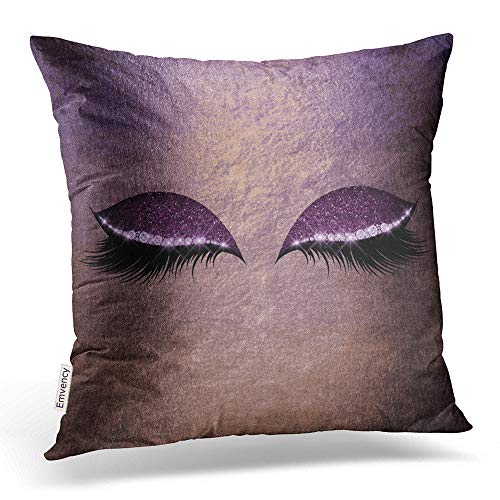 Price comparison product image Emvency Square 18x18 Inches Decorative Pillowcases Eye Purple Amethyst Blush Gold Blue Glitter Makeup Lumbar Pillow Cotton Polyester Decor Throw Pillow Cover with Hidden Zipper for Bedroom Sofa