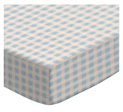 SheetWorld Fitted Cradle Sheet - Pastel Blue Gingham Woven - Made In USA