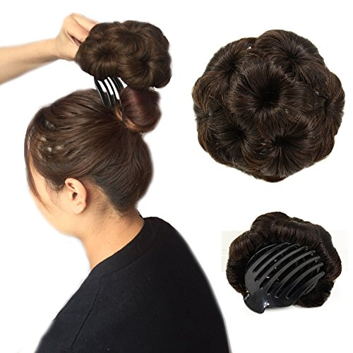 A&R@100% Human Hair Donut Bun Hair Extension Chignon Hairpiece Extensions Wigs(brown) (Brown Ponytail Wig)