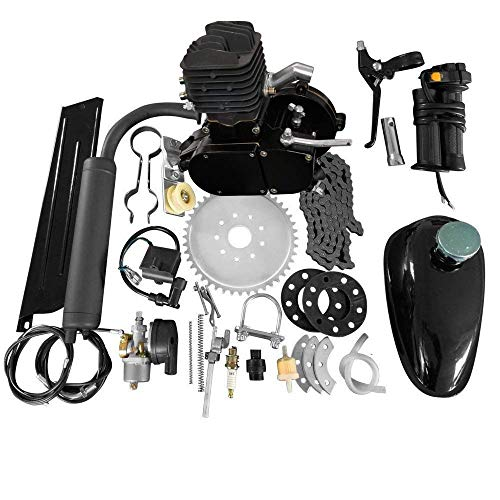 "MOTOOS 80CC 26"" 28"" Bike Bicycle Motorized 2 Stroke Cycle Petrol Gas Engine Kit Set (Black)"