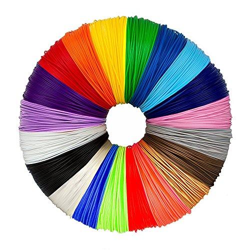 3D Pen Filament Refills PLA, 3D Printer Filament, 1.75mm, Total 330 Feet, 20 Colors, 16.5 Feet Each for MYNT3D, DigiHero, Canbor, Tecboss, Soyan, TIPEYE, DigiHero, Hongdak, Dikale 3D Printing Pen