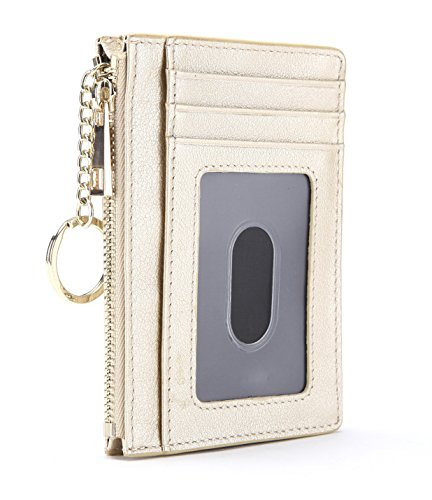 Slim Genuine Leather Credit Card Holder Front Pocket Wallet with ID Window Zipper Pocket Key Chain RFID Blocking - ()