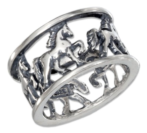 Sterling-Silver-Horses-Open-Band-Ring