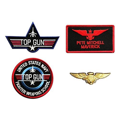Maverick Top Gun Movie Costume Hook Patch (4pc With Pilot Aviator Wings Pin) ()