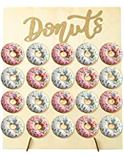 IUAQDP Donut Wall Display Stand Wood Reusable Rustic Doughnut Board Holder for Cake Wedding Birthday Party,Holds 20 Donuts
