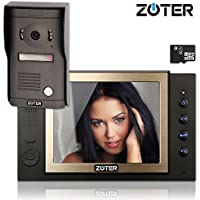 ZOTER 8 inch Color LCD Wired Video Door Phone Doorbell Home Entry Intercom Kit System 1 Monitor 1 Camera with SD Recording Night Vision 801D2 (Black)