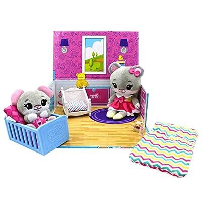 Tiny Tukkins Mouse Naptime Nursery Playset and Baby 'n' Crib Set Blind Plush Mini Pack Bundle: Toys & Games