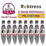 "EZ Braiding Hair Professional (Pre-Stretched Braid) Itch Free Braiding Hair Synthetic Hair Braids for Women (18"" 8PCS, TSILVER#)"