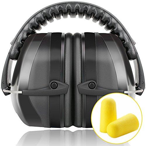 Fnova 34dB NRR Safety Ear Muffs with Adjustable Headband, Black