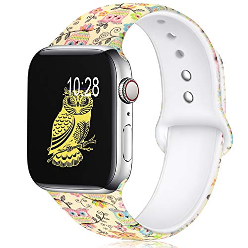 KOLEK Floral Bands Compatible with Apple Watch 38mm 40mm, Silicone Fadeless Pattern Printed Replacement Bands for iWatch Series 4 3 2 1, Owl, S, M