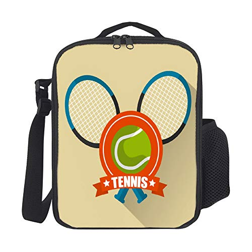 SARA NELL Kids Lunch Backpack Insulated Tennis Rackets Cross And Ball Sport Lunch Bag Large Lunch Boxes Cooler Meal Prep Lunch Tote With Shoulder Strap For Boys Girls Teens Women ()
