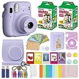Fujifilm Instax Mini 11 - Funda de transporte compatible con cámara instantánea + Fujifilm Instax Film Pack (40 hojas), color lila