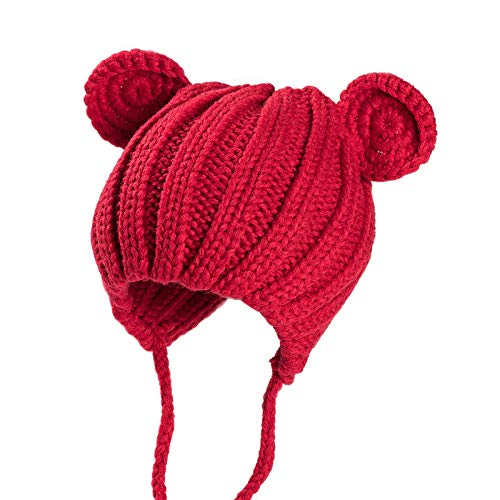 (Toddler Kids Crochet Beanie Hats Unisex Boys Girls Knitted Cartoon Bear Caps Winter Cute Infant Baby Earflap Hats Red)