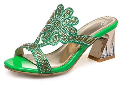 YCMDM donne tacchi alti nuovi sandali di diamante Hollow Hollow oversize pantofole , green , 42 custom 2-4 days do not return