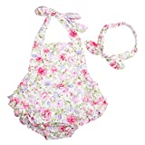 Slowera Baby Girls 2pcs Sets Cotton Ruffles Romper Outfits Clothes (L:24Months, Pink Peony)