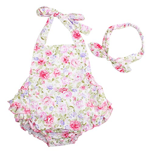 Baby Girls 2pcs Sets Cotton Ruffles Romper Outfits Clothes (L:24Months, Pink Peony)