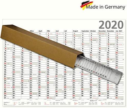 Plakatkalender 2020 großer Wandkalender XL Optima großer Wandkalender 100 x 70 cm mit Ferienübersicht Sonn- und Feiertage in Rot gerollt geliefert!