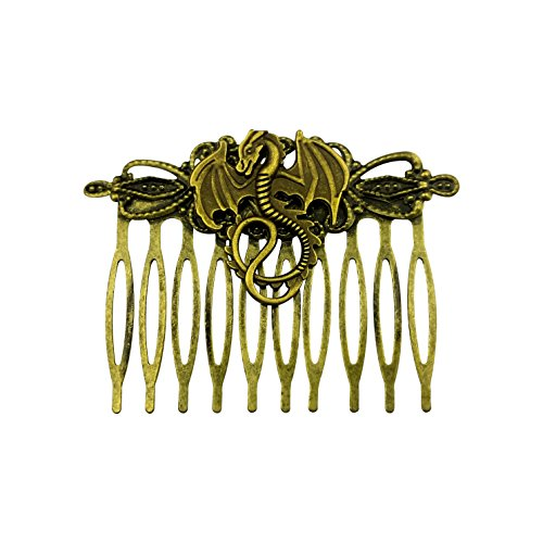 Art Attack Goldtone Burnished Flying Fire Burning Dragon Serpent Lizard Hair Clip Comb