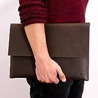 "Capra Leather MacBook Pro Case for Men, Dark Brown Macbook Pro 13"" Touch Bar Sleeve, Travel Laptop Sleeve Bag, Protective Apple's Folio. Mens Gift"