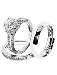 His & Hers 3 PCS Brilliant Cut Clear CZ Womens Stainless Steel Wedding Set w/ Mens Matching Band