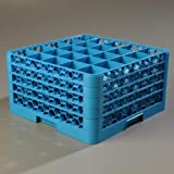 "Carlisle RG25-414 OptiClean 25 Compartment Glass Rack with 4 Extenders, 3-1/2"" Compartments, Blue (Pack of 2)"