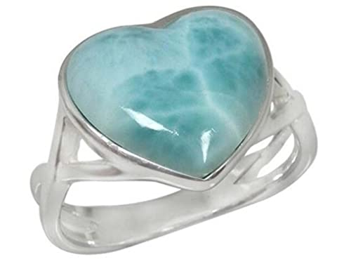 BillyTheTree Gemstone Jewelry Sterling Silver Cross Band Ring with Larimar BTS-NRB3382 LR