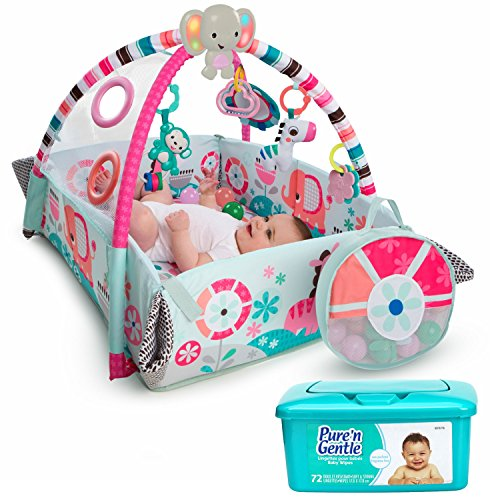 Bright Starts 5-in-1 Your Way Ball Infant-to-Toddler Play Gym Activity Center, Ball Pit, and Playmat in Pink with Musical Toys, Balls, and Hypoallergenic Baby Wipes